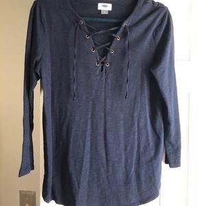 Old Navy navy mid-sleeve lace up top
